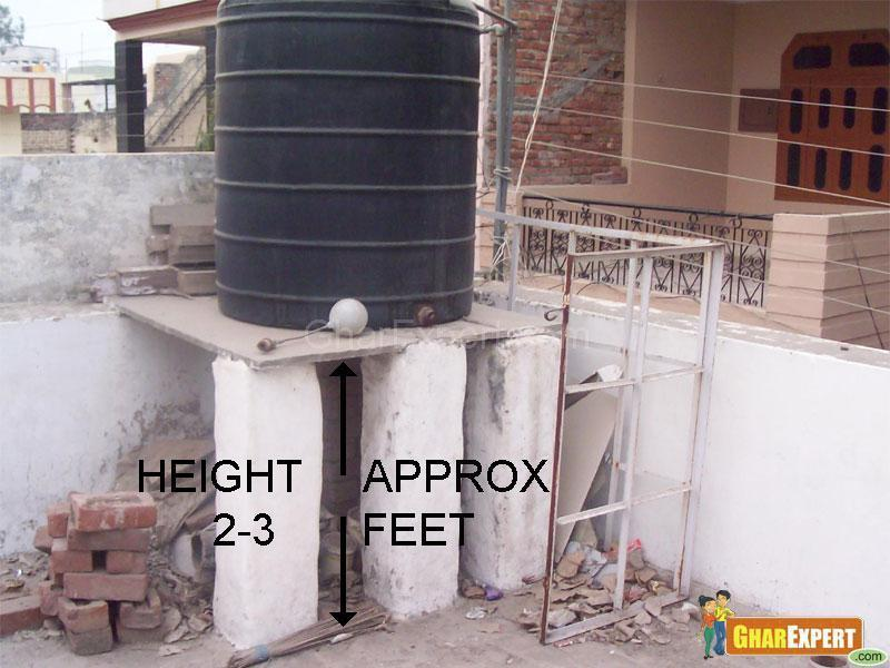 Approximate Height for placing water tank