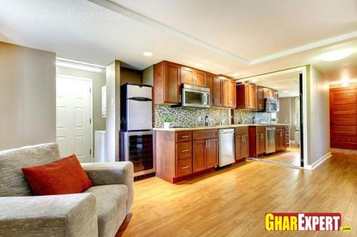 small one line kitchen with 13 ft counter top in open sty