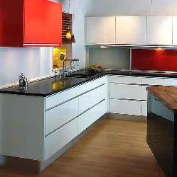 Red and White cabinets in kitchen
