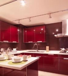 Red Color Kitchen Cabinets