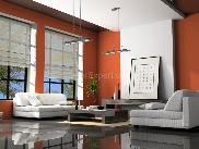 Orange & white paint scheme Living room interior