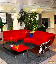 Hotel lobby with red sofas