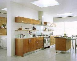 One wall modern kitchen with island