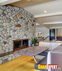 stone fcade wall for open dining room