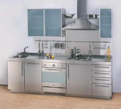 One wall compact stainless steel kitchen