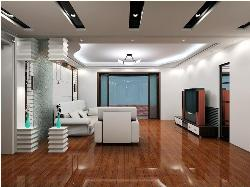 Living room Interior emphasizing ceiling, flooring and furniture