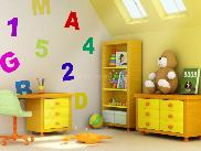 Kids room with yellow paint scheme & matching furniture