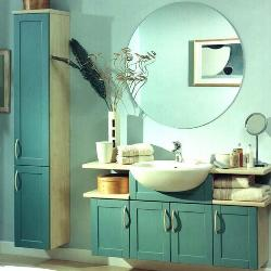 Bathroom Mirror and Vanity with blue colored wall tiles