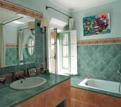 Bathroom Interior with Olive colored wall tiles, Bathroom large window