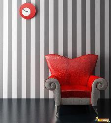 Chair style with striped backdrop wall