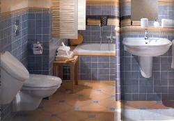 Bathroom Interior with blue colored wall tiles