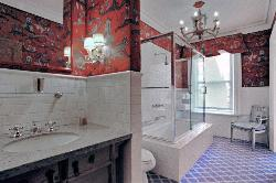 Large rectangular bathroom with Bathroom Lights