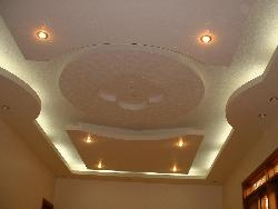 POP ceiling with ceiling fans and lighting