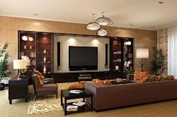 Drawing room living room interiors highlighting LCD unit, Ceiling chandelier, furniture design, Lamp Lighting and wooden flooring
