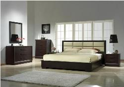 Wenge colored bedroom furniture including wardrobes, and chests Bedroom side tables with lamps. Wooden large windows with wooden flooring