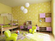 Light yellowish paint scheme with floral patterns in kids room with well furnished furniture