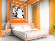 Bedroom with orange & white paint scheme
