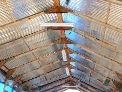 Inside view of steel roof