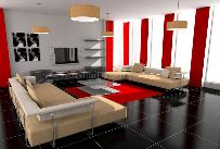 Stylish red & white drawing room with black tiles flooring