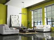 Living room with green paint scheme