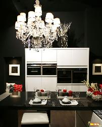 Chandelier in Modern Kitchen