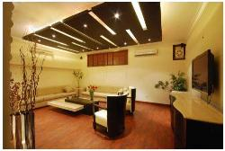 Living room interior emphasize on ceiling design and furniture placement