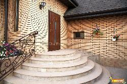Exterior door design with stairs Railing and focussed wall design