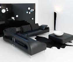 Modern sofa and center table in leather