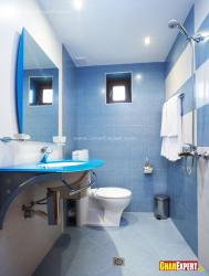 5 by 9 ft bathroom in blue color