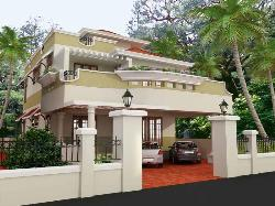 Different and too good exterior elevation design with ample space for parking