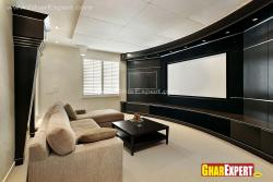 home theater system and modern sofa