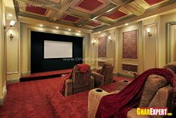 Home theater system with suspend ceiling design