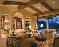French style drawing room with wooden ceiling