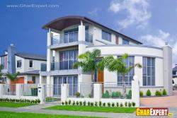 3 storey modern elevation with double height tower