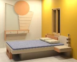 Master bed with wall hung dressing table