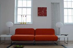 Rust Color Sofa for living room with wooden windows and Lamp for lighting