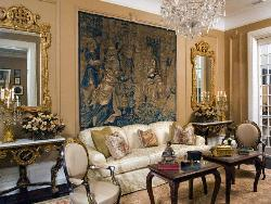 Victorian style Drawing Room with furniture, decorative mirrors and painting