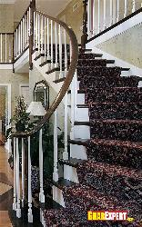 Staircase with Wooden Railing