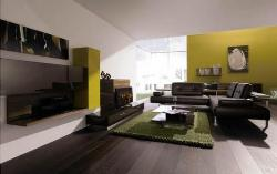 Living room furniture, flooring design, LCD unit and large windows