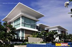 Minimalistic modern villa design with glass exterior