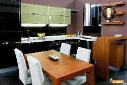 Contemporary kitchen with brown dinning table and chairs