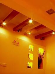 Lighting on wooden ceiling