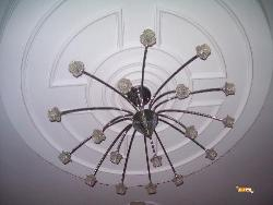 POP Ceiling design with chandelier in Lobby