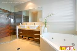 vanity sndwiched in corner shower and corner bath tub