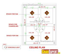 Ceiling design for large room with 4 ceiling fans