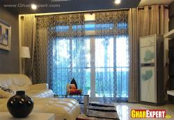 Double layered curtain for living room