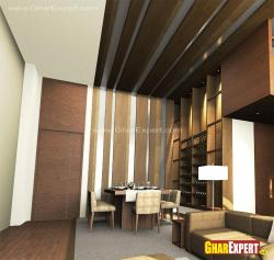 extended wooden stripes from wall to ceiling
