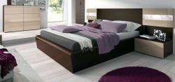 platform bed with side table