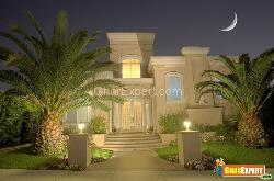 Front View with beautiful lighting and gardening