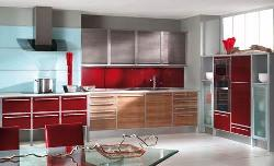RED N BROWN colored kitchen interior in modular style